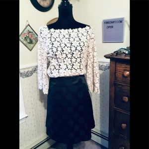 Maurice's black polka dot A-line skirt